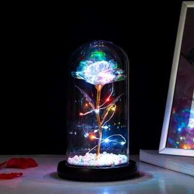 홀로그램 장미 LED 유리돔 플라워 꽃 투명 크리스탈 글라스돔 무드등