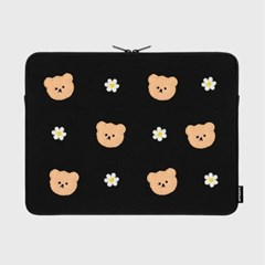 Dot flower bear-black-15inch notebook pouch(15인치_(1683723)