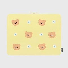 [04.26 예약배송]Dot flower bear-yellow-15inch notebook pouch