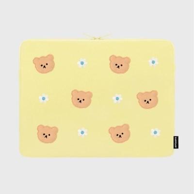 Dot flower bear-yellow(15인치 노트북파우치)