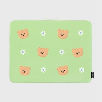 Dot flower bear-mint(15인치 노트북파우치)