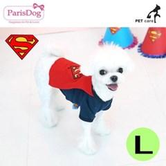 패리스독 슈퍼맨 왐 케이프 티셔츠 (레드) (망토) (L)