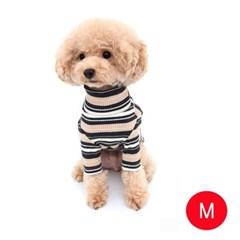 강아지 골지넥 스트라이프 티셔츠(베이지 M)