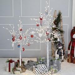 크리스마스트리 자작나무트리 LED 데코트리 화이트레드 1.2M 풀세트