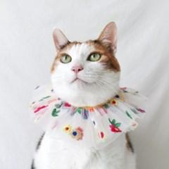 쉬폰 플라워 자수 목도리 고양이옷 강아지옷 Miyopet