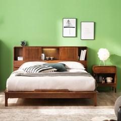 셀린 고무나무 원목 슬라이딩 LED 침대(NEW E호텔양모라텍7존독립-Q)