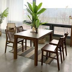 [카르페디]애니 고무나무 원목 4인용 식탁세트A(의자4)