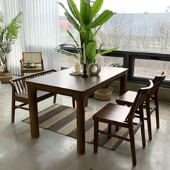 [카르페디]애니 고무나무 원목 4인용 식탁세트B(의자2벤