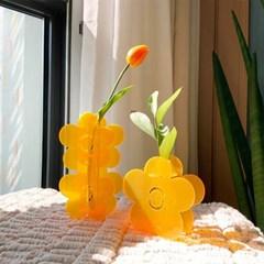 Orange flower Acrylic Vase SET