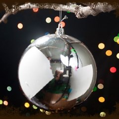 성탄절 크리스마스 트리 장식 실버 유광볼 12cm