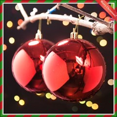 2p 레드 유광볼(10cm) 크리스마스 트리 장식볼
