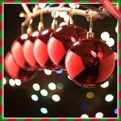 크리스마스 레드 유광볼(8cm) 6개세트