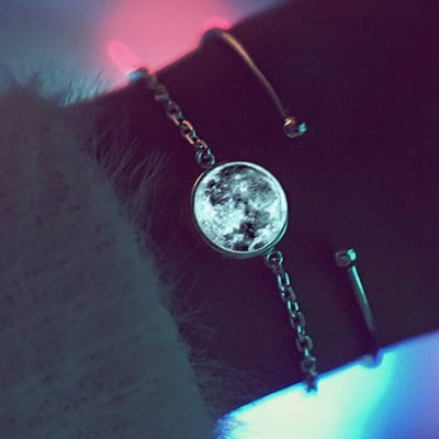 [윙블링][셀럽착용][925실버] 어두운곳에서 빛나는 화이트문 팔찌