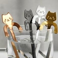 푸코 고양이 거치 롱티스푼(4color)_(2061068)