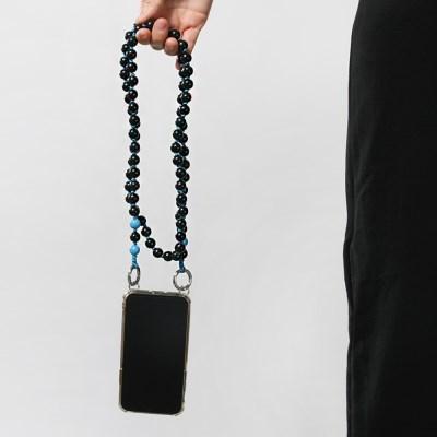 [블랙]컬러 우드볼 스트랩 핸드폰케이스_PH913