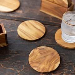 티크나무 컵받침 5p 세트