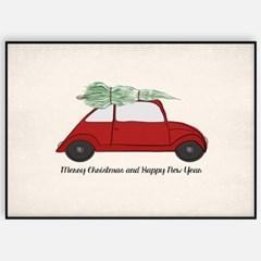 겨울 크리스마스 그림 패브릭 인테리어 포스터 액자_트리자동차