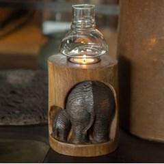 코끼리 조각 나무 등잔(B)