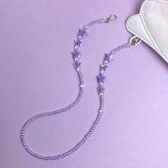 반짝반짝 작은별 비즈 미스크 스트랩 목걸이 - 바이올렛