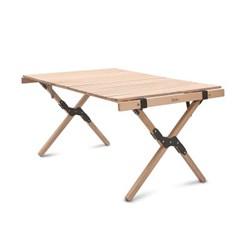 Qvien 캠핑 원목 우드 롤 테이블 90cm