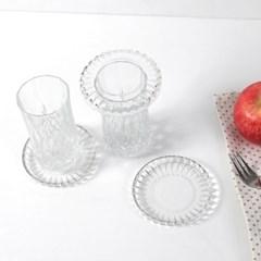 클래식 유리 컵뚜껑 겸용 컵받침 3P set