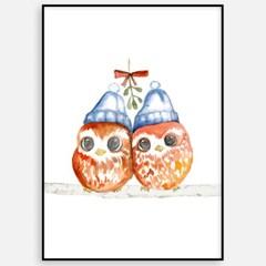 겨울 크리스마스 액자 패브릭 인테리어 포스터 그림_부엉이액자