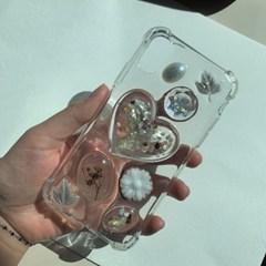 흰 자개 낙엽 레진 폰케이스 휴대폰케이스