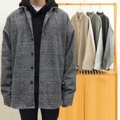 가을 남자 남성 오버핏 울 나그랑 체크 두꺼운 롱셔츠 남방 자켓