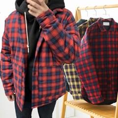 겨울 남성 오버핏 체크 두꺼운 누빔 패딩 셔츠 남방 자켓