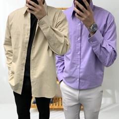 겨울 남성 루즈핏 기모 컬러 기본 무지 긴팔 롱셔츠 남방