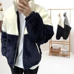 겨울 남성 오버핏 테디베어 양털후리스 누빔 집업 패딩점퍼