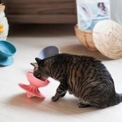 몬도미오펫 팽이식기 고양이식기_식탁 Pink