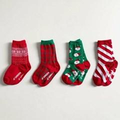 디) 크리스마스 아동 양말 (4개세트)