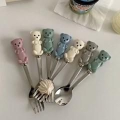 허니베어 쁘띠스푼포크세트 (5color 곰돌이 요거트 디저트 어린이용)