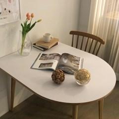 [포커스인가구] 플랫 반달타원 테이블 / 호마이카
