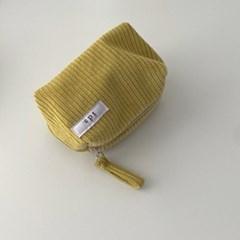 골덴 라임 네모 파우치(Corduroy lime oblong pouch)