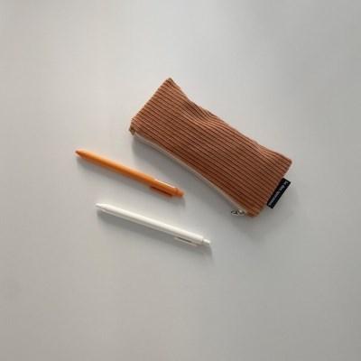 다크 오렌지 골덴 필통(Dark orange corduroy pencil case)