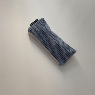 크림 블루 골덴 필통(Cream blue corduroy pencil case)