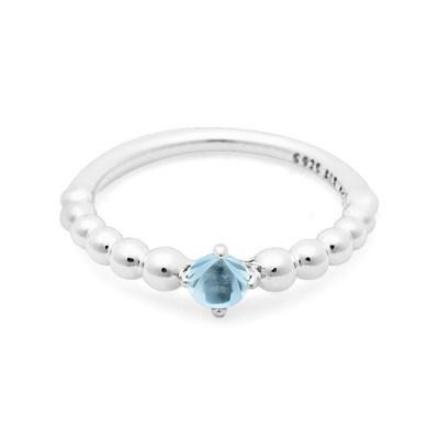 판도라 198867C01 아쿠아 블루 3월 신신탄생석 반지