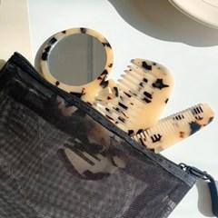 레오파드 호피 휴대용 미니 손거울 & 빗 3종 세트 (2color)