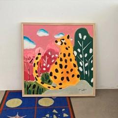숲 속의 큰 고양이 페인팅 M 모노하 캔버스 아크릴화 25호