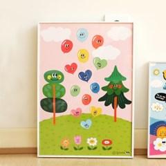 벌룬프렌즈 A3 포스터 - 나무와 풍선친구들