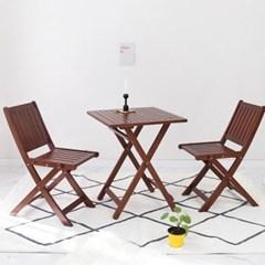 원목 접이식 카페테이블&의자 세트_디자인02 베이직 브라우니