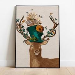 명화그리기 모자쓴 꽃 사슴 피포페인팅 유화그림