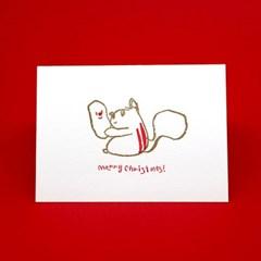 루돌프 다람쥐 크리스마스 레터프레스 카드
