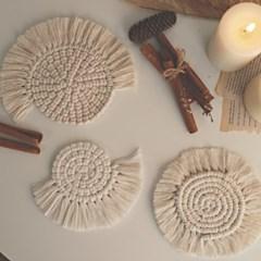 마크라메 라운드 웜코스터 뜨개 캔들받침 컵받침