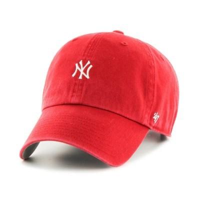 47브랜드 MLB모자 양키즈 레드 화이트미니로고 유스여성용