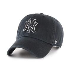 47브랜드 MLB모자 양키즈 블랙 블랙화이트라인 빅로고