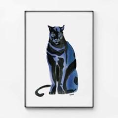 메탈 모던 동물 그림 인테리어 포스터 액자 퓨마 ver2