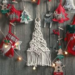 크리스마스 LED 트리 마크라메 월 행잉 데코 벽장식 인테리어 소품